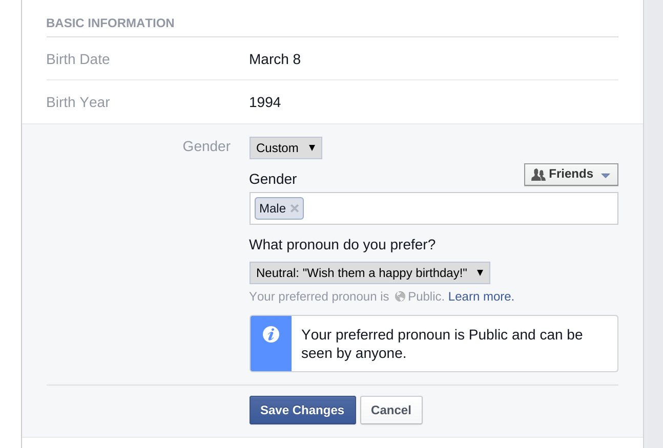 Facebook's settings for pronouns, as distinct from gender.