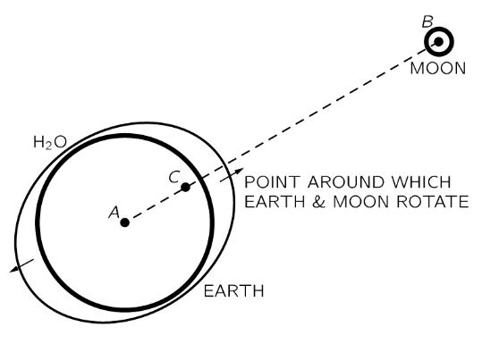 A diagram of how the moon causes tides on earth.